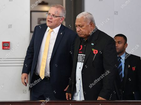Australian Prime Minister Scott Morrison (L) walks with the Fiji Prime Minister Frank Bainimarama (R) at the Grand Pacific Hotel in Suva, Fiji, 11 October 2019. Morrison is on a two-day visit to Fiji.