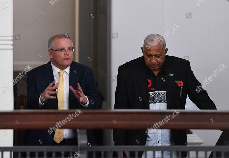 Australian Prime Minister Scott Morrison (L) speaks with Fiji Prime Minister Frank Bainimarama (R) at the Grand Pacific Hotel in Suva, Fiji, 11 October 2019. Morrison is on a two-day visit to Fiji.