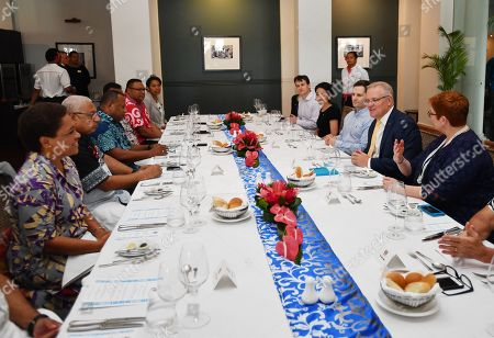 Australian Prime Minister Scott Morrison (2-R) and Minister for Foreign Affairs Marise Payne (R) meet with the Fiji Prime Minister Frank Bainimarama (2-L) at the Grand Pacific Hotel in Suva, Fiji, 11 October 2019. Morrison is on a two-day visit to Fiji.