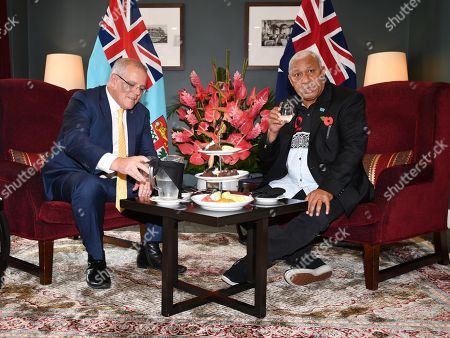 Stock Image of Australian Prime Minister Scott Morrison (L) speaks with Fiji Prime Minister Frank Bainimarama (R) during their meeting at the Grand Pacific Hotel in Suva, Fiji, 11 October 2019. Morrison is on a two-day visit to Fiji.