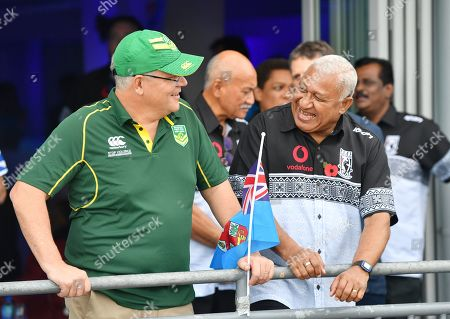 Stock Picture of Australian Prime Minister Scott Morrison (L) and Fiji Prime Minister Frank Bainimarama (R) chat at ANZ Stadium in Suva, Fiji, 11 October 2019. Morrison is on a two-day visit to Fiji.
