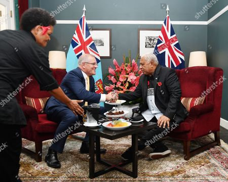 Stock Photo of Australian Prime Minister Scott Morrison (L) meets with the Fiji Prime Minister Frank Bainimarama (R) at the Grand Pacific Hotel in Suva, Fiji, 11 October 2019. Morrison is on a two-day visit to Fiji.