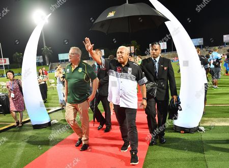 Australian Prime Minister Scott Morrison (L) and Fiji Prime Minister Frank Bainimarama (R) at ANZ Stadium in Suva, Fiji, 11 October 2019. Morrison is on a two-day visit to Fiji.