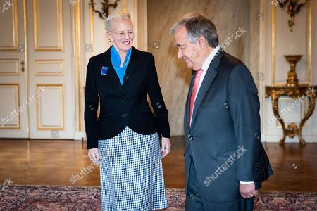Stock Image of Queen Margrethe II of Denmark (L) receives  UN Secretary-General Antonio Guterres in Copenhagen, Denmark, 11 October 2019. Guterres is in Copenhagen for the C40 World Mayors Summit.