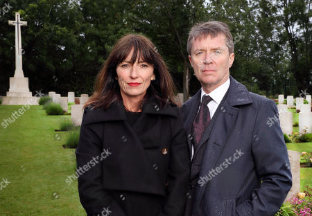 (l-r) Davina McCall and Nicky Campbell at Hermies Hill British Cemetery in France.