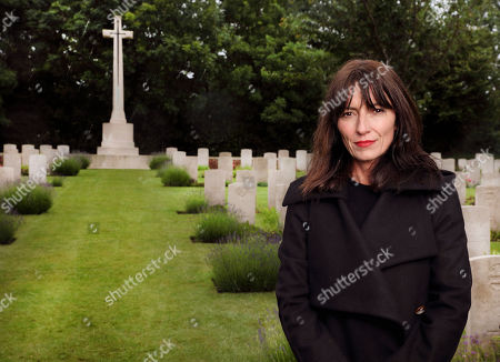 Davina McCall at Hermies Hill British Cemetery in France.