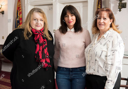(l-r) Davina McCall (centre) with War Detectives Louise Dorr (left) and Tracey Bowers (right).