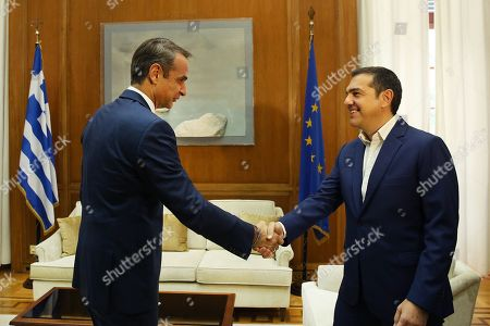 Greek Prime Minister Kyriakos Mitsotakis (L) welcomes leader of SYRIZA Alexis Tsipras (R) during their meeting in Athens, Greece, 11 October 2019. Prime Minister Kyriakos Mitsotakis will have successive meetings with political leaders to discuss the voting rights of Greeks living abroad. Political leaders are also expected to discuss current developments such as the refugee/migrant issue and Turkish provocations in the Aegean and Cyprus.