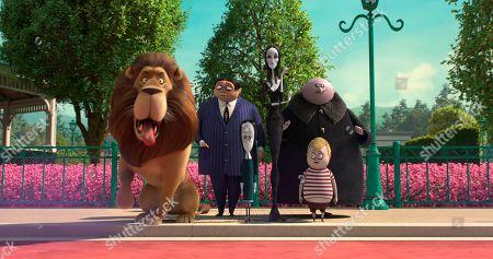 Gomez Addams (Oscar Isaac), Wednesday Addams (Chloe Grace Moretz), Morticia Addams (Charlize Theron), Uncle Fester (Nick Kroll) and Pugsley Addams (Finn Wolfhard)
