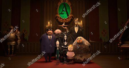 Gomez Addams (Oscar Isaac), Uncle Fester (Nick Kroll), Wednesday Addams (Chloe Grace Moretz), Morticia Addams (Charlize Theron), Lurch (Conrad Vernon), Pugsley Addams (Finn Wolfhard) and Grandma Addams (Bette Midler)