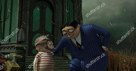 Pugsley Addams (Finn Wolfhard) and Gomez Addams (Oscar Isaac)