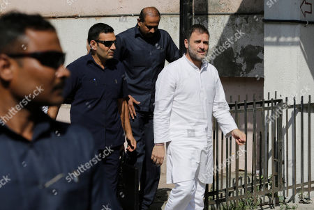 India's opposition Congress party leader Rahul Gandhi arrives at a court in Ahmadabad, India, . Gandhi appeared before a court here on Friday in connection with two defamation suits filed against him