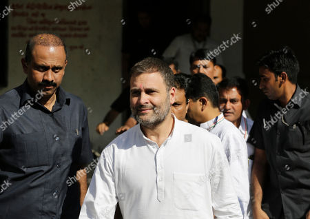 Stock Image of India's opposition Congress party leader Rahul Gandhi leaves a court in Ahmadabad, India, . Gandhi appeared before a court here on Friday in connection with two defamation suits filed against him