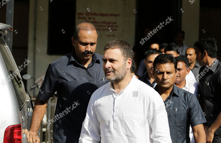 India's opposition Congress party leader Rahul Gandhi leaves a court in Ahmadabad, India, . Gandhi appeared before a court here on Friday in connection with two defamation suits filed against him
