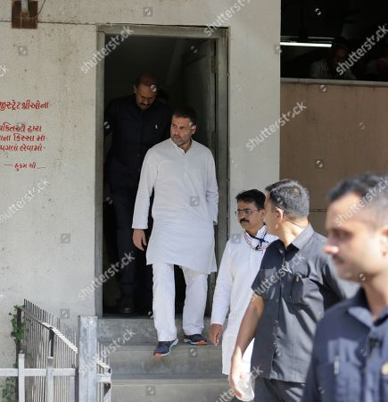 Stock Photo of India's opposition Congress party leader Rahul Gandhi leaves a court in Ahmadabad, India, . Gandhi appeared before a court here on Friday in connection with two defamation suits filed against him