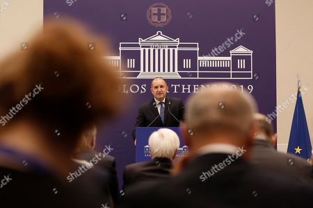 President of Bulgaria Rumen Radev speaks during a press conference at the 15th Arraiolos Group Meeting of Heads of States in Zappeion Hall in Athens, Greece, 11 October 2019. The 15th Arraiolos Group Meeting, a multinational informal convention of non-executive Presidents of European Union member states, is held 10-11 October in Athens.