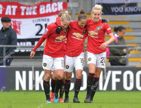 Stock Image of Jane Ross of Manchester United Women celebrates after scoring (0-3)