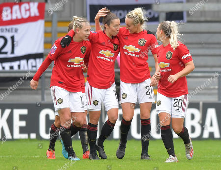 Jane Ross of Manchester United Women celebrates after scoring (0-3)