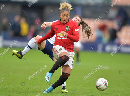 Stock Picture of Lucy Quin of Tottenham Hotspur Women is fouled by  Lauren James of Manchester United Women who is shown a red card