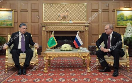 Russian President Vladimir Putin (R) and Turkmenistan's President Gurbanguly Berdymukhamedov (L) meet in Ashgabat, Turkmenistan, 11 October 2019. Russian President Vladimir Putin arrived in Ashgabat to take part in a  meeting of the Council of CIS Heads of State.