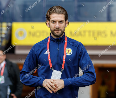 Charlie Mulgrew of Scotland walks out the tunnel shortly after arriving at Hampden Park.