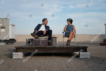 Stock Image of Jon Hamm as Mark Goodwin and Natalie Portman as Lucy Cola