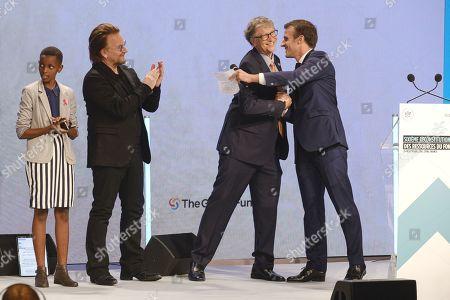 Stock Image of Amanda Dushime, Bono, Bill Gates and president Emmanuel Macron