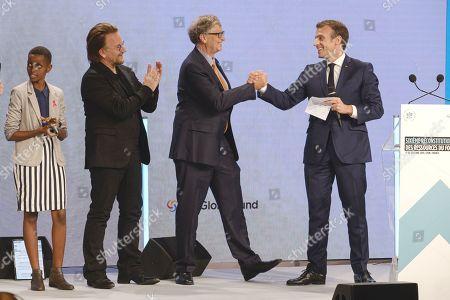 Stock Picture of Amanda Dushime, Bono, Bill Gates and president Emmanuel Macron