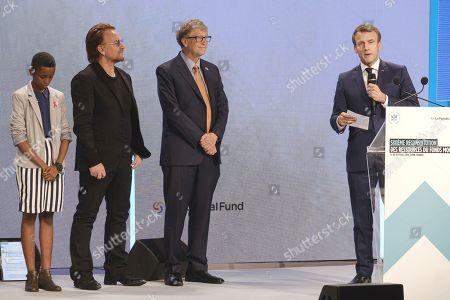 Amanda Dushime, Bono, Bill Gates and president Emmanuel Macron