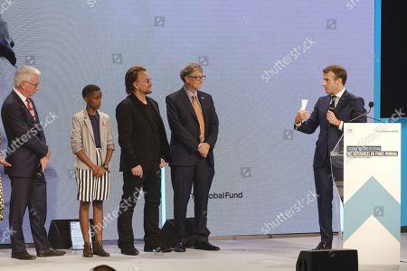Peter Sands, Amanda Dushime, Bono, Bill Gates and president Emmanuel Macron