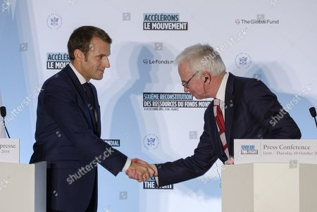 Stock Picture of President Emmanuel Macron and Peter Sands
