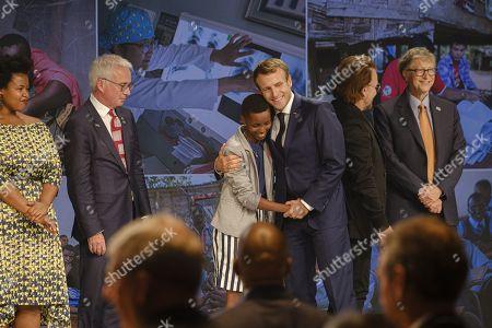 Peter Sands, Amanda Dushime, President Emmanuel Macron, Bono and Bill Gates