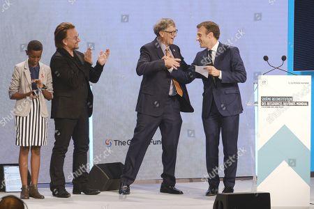 Stock Photo of Amanda Dushime, Bono, Bill Gates and president Emmanuel Macron
