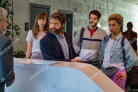 Stock Picture of Lauren Lapkus as Carol, Zach Galifianakis as Zach Galifianakis, Ryan Gaul as Cam and Jiavani Linayao as Boom Boom