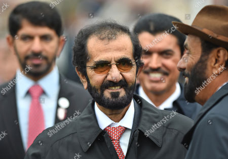 Sheikh Mohammad Bin Rashid Al Maktoum, owner of Godolphin after their horse Pinatubo had won The Darley Dewhurst Stakes.