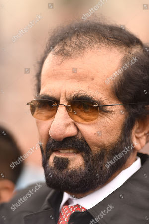 Stock Image of Sheikh Mohammad Bin Rashid Al Maktoum, owner of Godolphin after their horse Pinatubo had won The Darley Dewhurst Stakes.