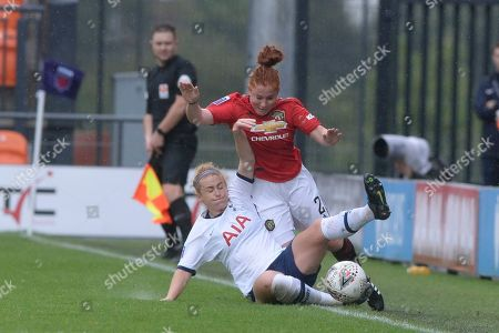 Stock Picture of Rachel Furness of Tottenham Hotspur Women and Martha Harris of Manchester United Women in action during the Barclays WomenÕs Super League match between Tottenham Hotspur Women and Manchester United Women at The Hive Stadium in London, UK - 13th October 2019