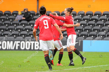 Jane Ross of Manchester United Women celebrates scoring the third goal during the Barclays WomenÕs Super League match between Tottenham Hotspur Women and Manchester United Women at The Hive Stadium in London, UK - 13th October 2019