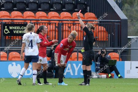 Lauren James of Manchester United Women is shown a second yellow and sent off during the Barclays WomenÕs Super League match between Tottenham Hotspur Women and Manchester United Women at The Hive Stadium in London, UK - 13th October 2019