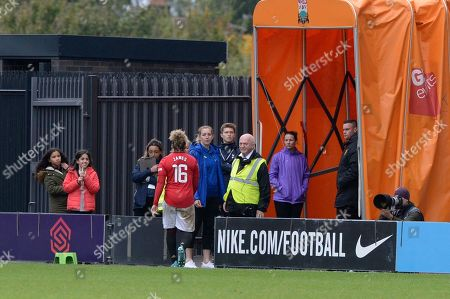 Lauren James of Manchester United Women is shown a second yellow and sent off during the Barclays Women?s Super League match between Tottenham Hotspur Women and Manchester United Women at The Hive Stadium in London, UK - 13th October 2019