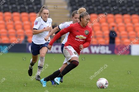 Lauren James of Manchester United Women in action during the Barclays WomenÕs Super League match between Tottenham Hotspur Women and Manchester United Women at The Hive Stadium in London, UK - 13th October 2019