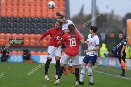 Anna Filbey of Tottenham Hotspur Women and Lauren James of Manchester United Women in action during the Barclays Women's Super League match between Tottenham Hotspur Women and Manchester United Women at The Hive Stadium in London, UK - 13th October 2019