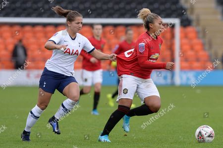 Kit Graham of Tottenham Hotspur Women and Lauren James of Manchester United Women in action during the Barclays Women's Super League match between Tottenham Hotspur Women and Manchester United Women at The Hive Stadium in London, UK - 13th October 2019