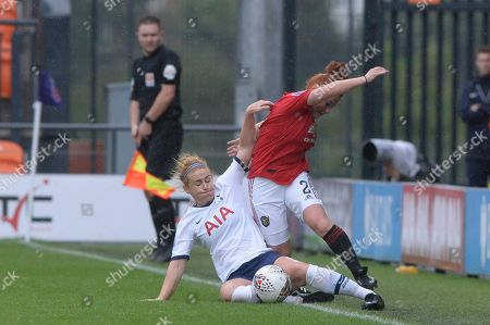 Stock Image of Rachel Furness of Tottenham Hotspur Women and Martha Harris of Manchester United Women in action during the Barclays WomenÕs Super League match between Tottenham Hotspur Women and Manchester United Women at The Hive Stadium in London, UK - 13th October 2019