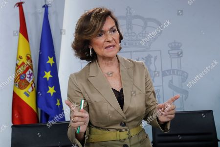 Spanish acting Deputy Prime Minister, Carmen Calvo, speaks during a press conference held following the Cabinet Meeting held in Madrid, Spain, 11 October 2019. Calvo said that the mortal remains of Spanish dictator Francisco Franco will be exhumed from the Valle de los Caidos before the upcoming 25 October. The specific date will be announced to Franco's relatives 48h prior the exhumation. The site is a Franco-era monument, a Catholic basilica and a large memorial site that also includes the largest cross in the world.