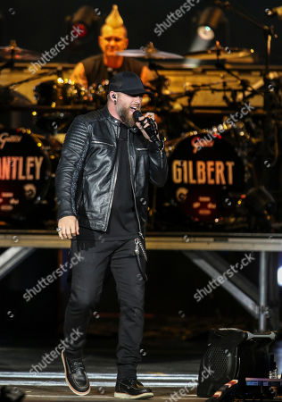 Brantley Gilbert performs during the Not Like Us Tour at Ameris Bank Amphitheatre, in Atlanta