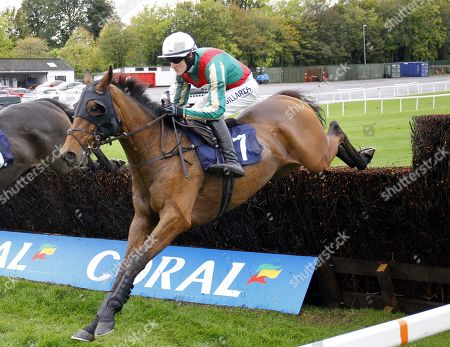 Stock Photo of Vieux Lion Rouge and Conor O'Farrell come late to catch leaders Joe Farrell and Perfect Candidate and win the Professor Caroline Tisdall Supports Heroic Jumpers Veterans Chase at Chepstow.