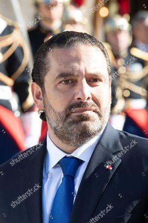 Stock Image of Lebanese Prime Minister Saad Hariri addresses media representatives ahead of meetings in Paris