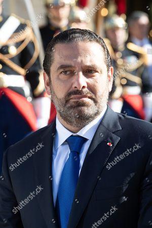 Lebanese Prime Minister Saad Hariri addresses media representatives ahead of meetings in Paris