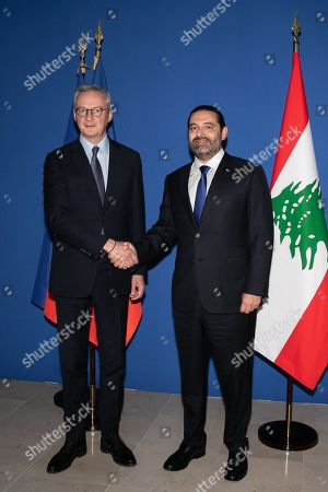 Stock Picture of Bruno Le Maire, Minister of Economy and Finance, receives Saad Hariri, President of the Council of Ministers of the Lebanese Republic in Paris